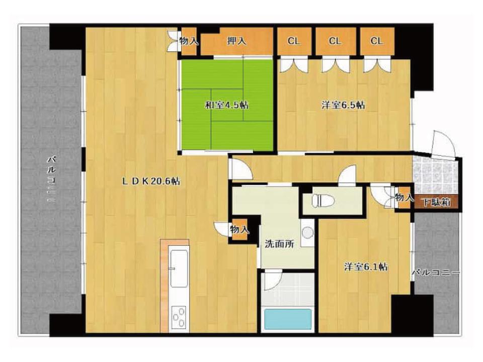 ユニハイム南草津(11階)の間取り図