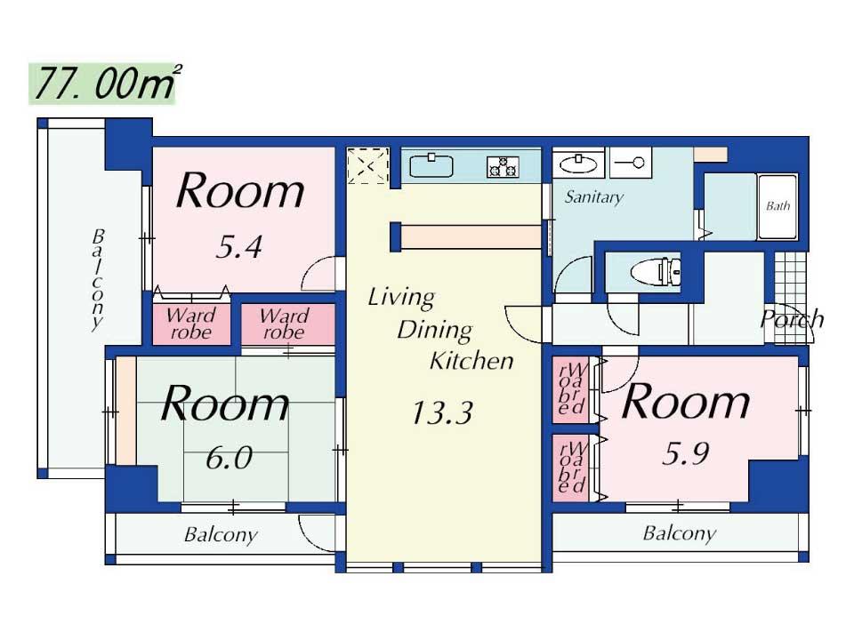 サンコート南草津(10階)の間取り図