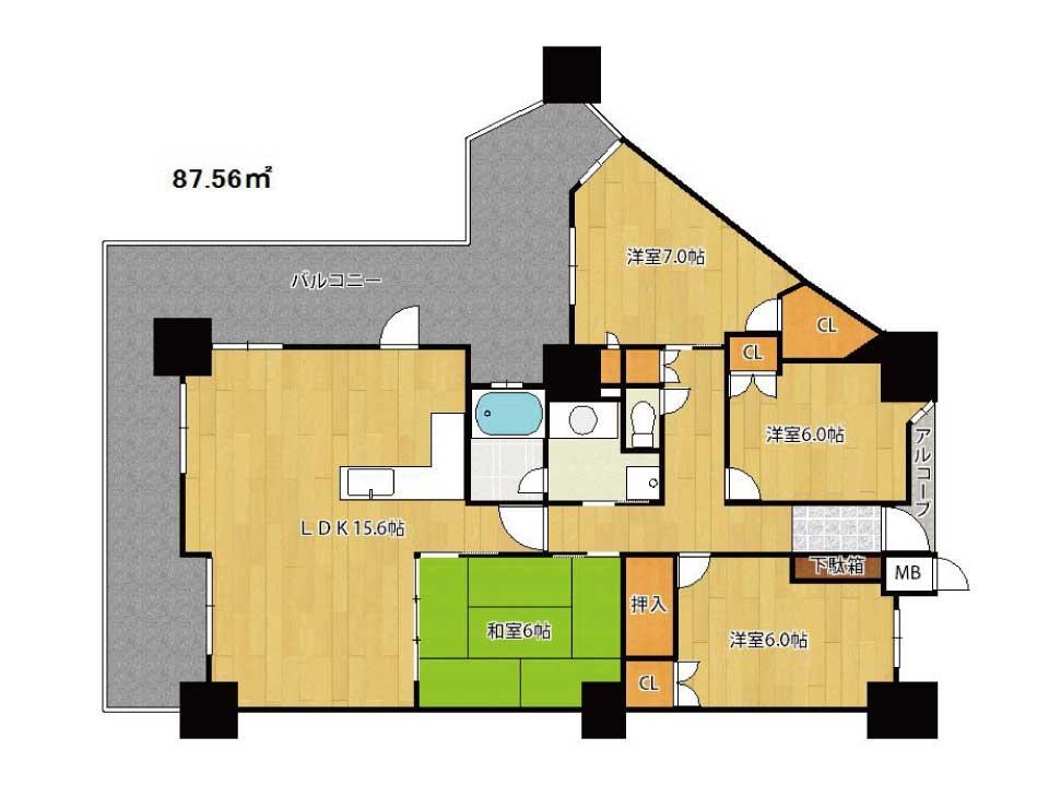 リーデンスタワー草津(25階)の間取り図