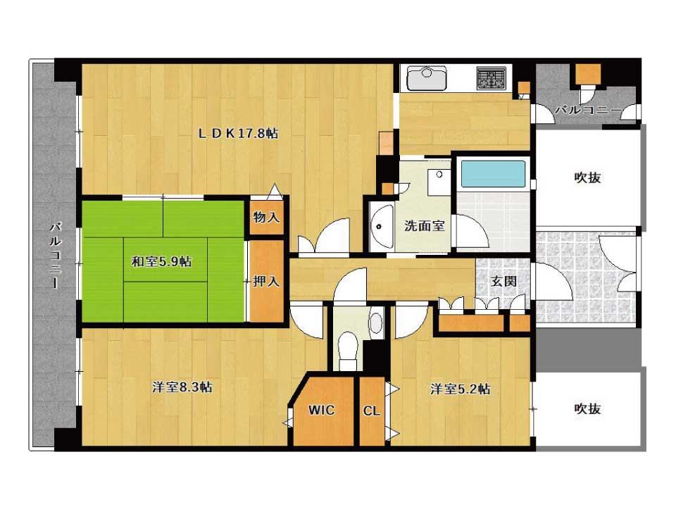 ローレルコート南草津(12階)の間取り図