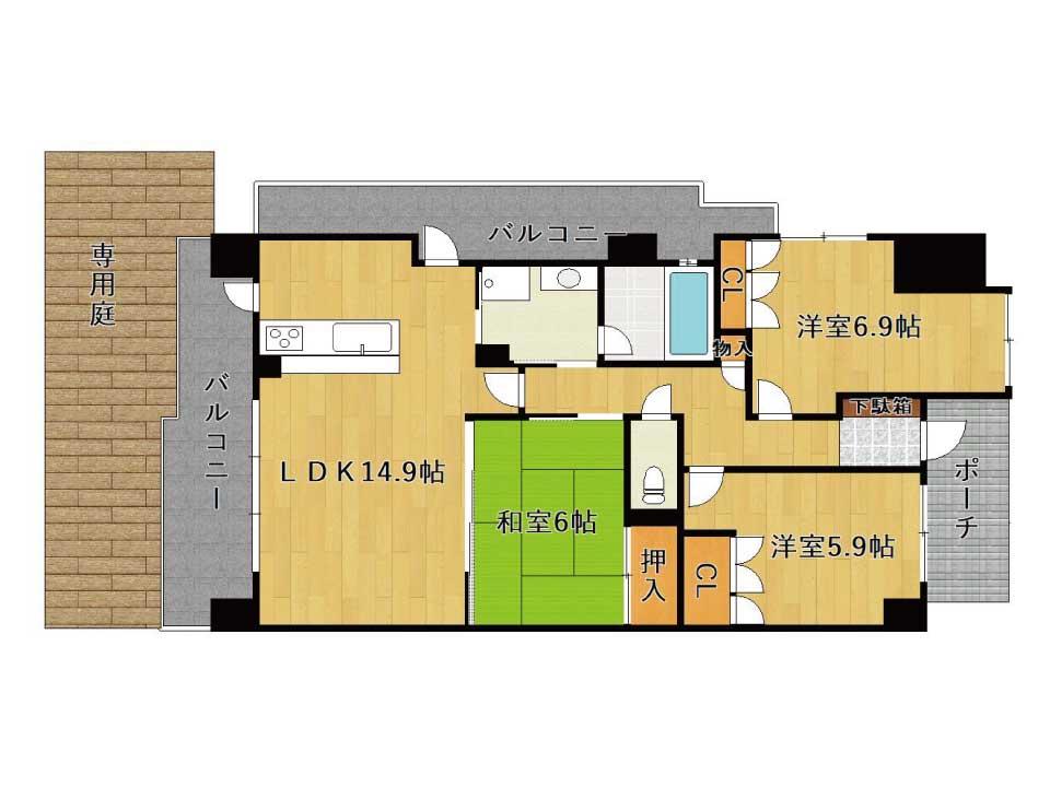 シャリエ草津大路(1階)の間取り図