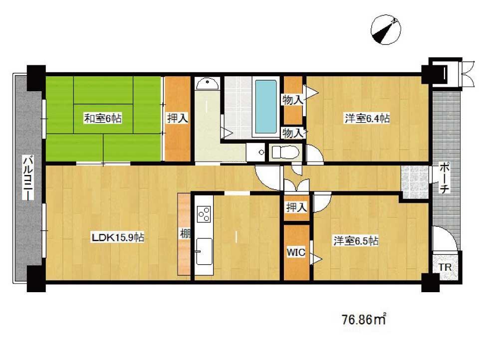 ユニハイム草津ユトリオやすらぎ館(7階)の間取り図