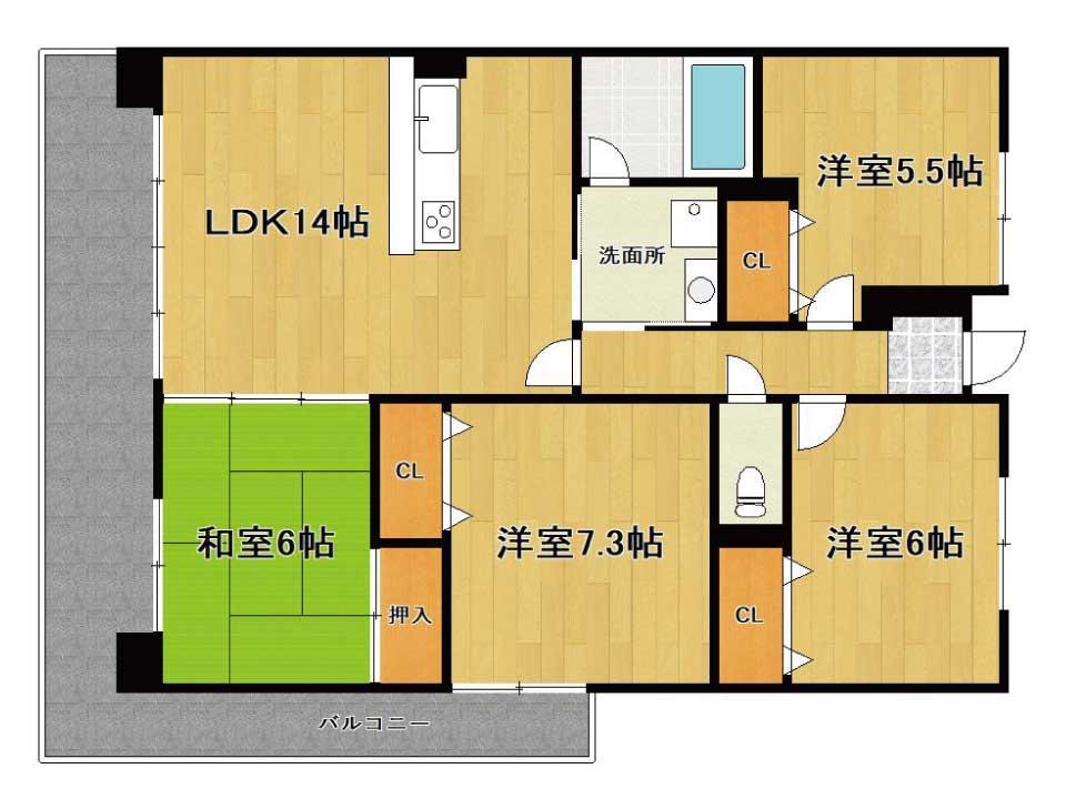 ベルヴィ南草津弐番館(3階)の間取り図