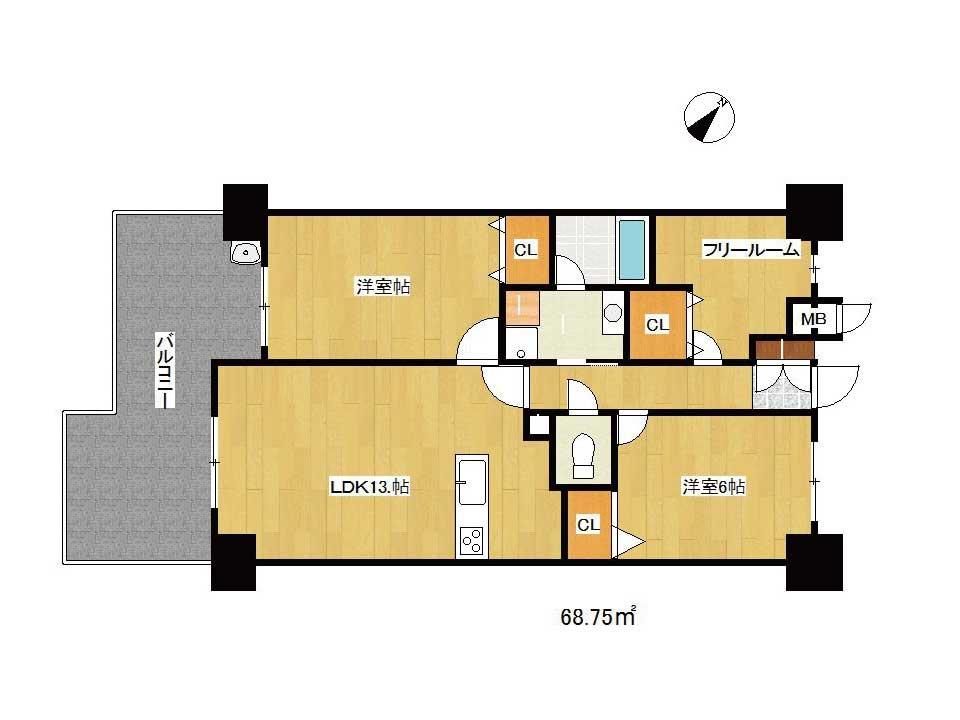 レジェ南草津2(3階)の間取り図
