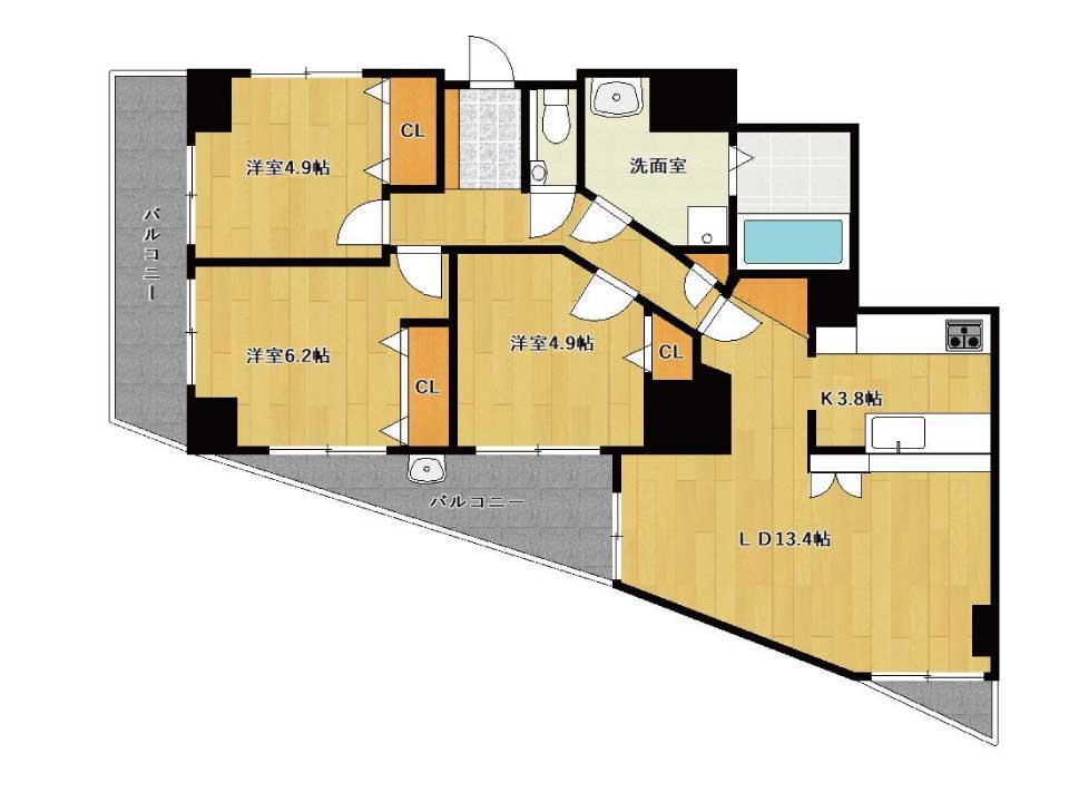 アメニティ南草津Ⅵ(4階)の間取り図