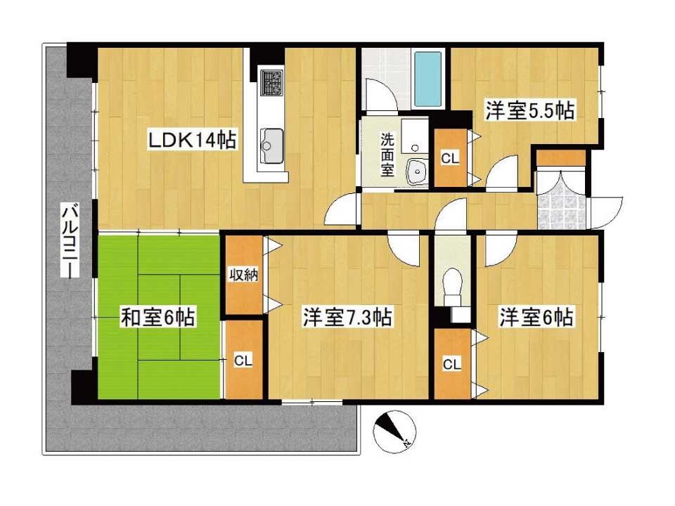 ベルヴィ南草津弐番館(9階)の間取り図