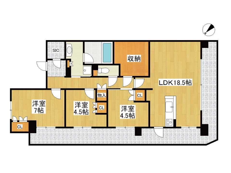 ジェイグランフレシア草津西大路(6階)の間取り図